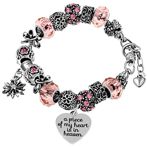 Silver Tone Love Snake Chain Pink Crystal Beaded Charm Bracelet with Extender A Piece of My Heart is in Heaven Memorial Jewelry Y807 (Pink)