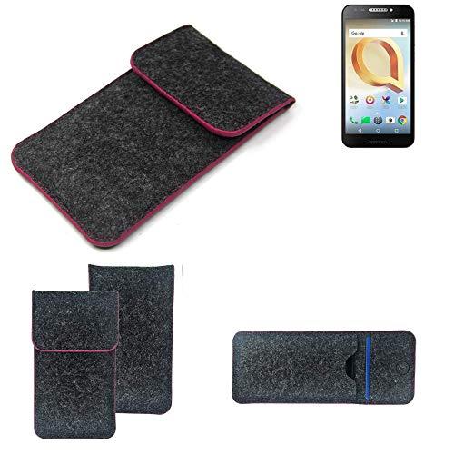 K-S-Trade Filz Schutz Hülle Für Alcatel A30 Plus Schutzhülle Filztasche Pouch Tasche Hülle Sleeve Handyhülle Filzhülle Dunkelgrau Rosa Rand