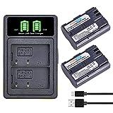 PowerTrust Pack de 2 baterías BP-511 BP-511A + cargador USB integrado tipo C para Canon EOS 40D 50D EOS 20D 300D 30D 10D EOS 5D Mark I 5D mk 3