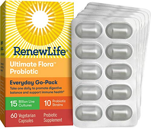 Renew Life Adult Probiotic - Ultimate Flora Everyday Go-Pack Probiotic Supplement - Shelf Stable, Gluten, Dairy & Soy Free - 15 Billion CFU - 60 Vegetarian Capsules