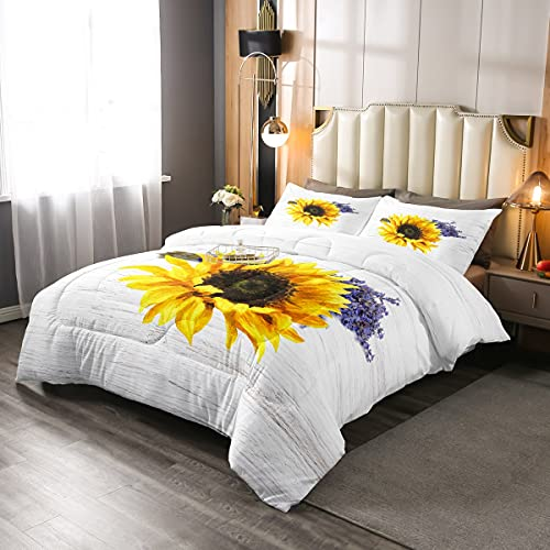 Sunflower Floral Bedding Comforters Set Twin Size, Yellow Plant Print Duvet Quilted for Girls Women Bedroom Decorations, Purple Lavender Down Alternative with 1 Pillow Sham