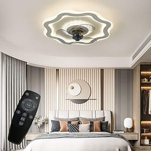 Ventiladores de techo con iluminación, 50 cm - 53 W, LED regulable y ventilador, velocidad ajustable de 3 niveles, lámpara colgante para habitación infantil, dormitorio, salón, restaurante o comedor