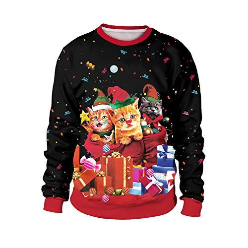 Día Lucy Hermosa Camisa de Vestir de Navidad de impresión de Manga Larga de Cuello Redondo Hombres suéter (Color : SB102-025, Size : L)