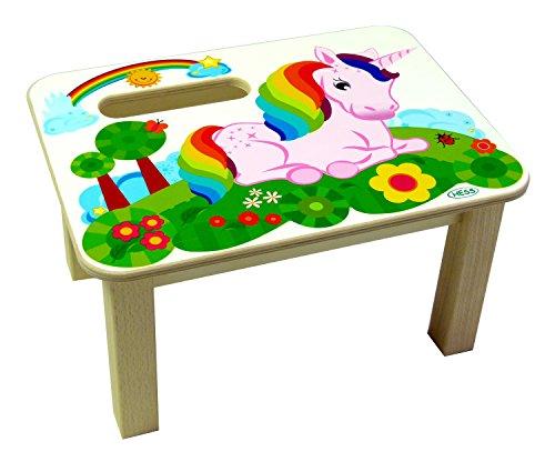 Hess Holzspielzeug 30276 Repose-pieds en bois pour enfant Motif licorne Fait main 34 x 25 x 19 cm