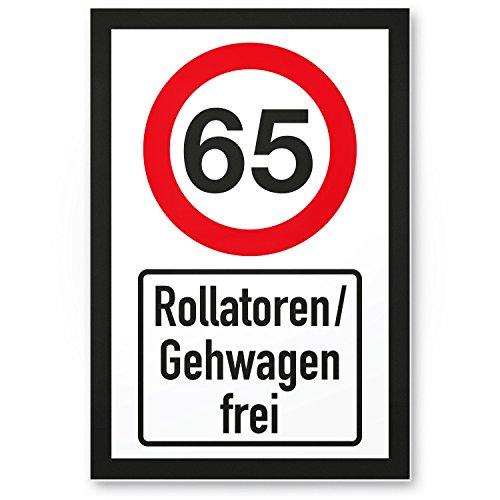 DankeDir! 65 Jahre Rollatoren/Gehwagen frei, Kunststoff Schild - Geschenk 65. Geburtstag, Geschenkidee Geburtstagsgeschenk Fünfundsechzigsten, Geburtstagsdeko/Partydeko/Party Zubehör/Geburtstagskarte