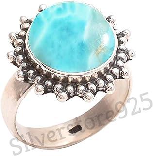 Larimar Ring 925 Sterling Silver Larimar Stone Gemstone Ring For Girl Women Gift Ring Size 4 5 6 7 8 9 10 11 12 13 14 15 16