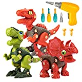 UTTORA Take Apart Dinosaur Toys for 3 4 5 6 7 Year Old Boys, Dinosaur Toy for Boys STEM Construction Building Toys with Electric Drill for Birthday Easter Gifts Boys Girls