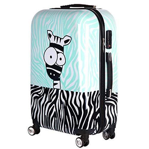 28 inch Children Carry On Luggage Kids Cartoon Animals Zebra Hardside Boys Rolling Suitcase Carryon Travel Case Trolley Suitcase for Men's ABS+PC With Universal Wheels with Zipper Spinner Wheels
