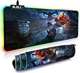 NJSJ RGB Gaming Mouse Pad,LED Extended Soft Mousepad,12 Lighting Modes,2 Brightness Levels, Waterproof Surface & Non-Slip Rubber Base,Computer Keyboard Mat for Gaming,PC,Laptop,Desk