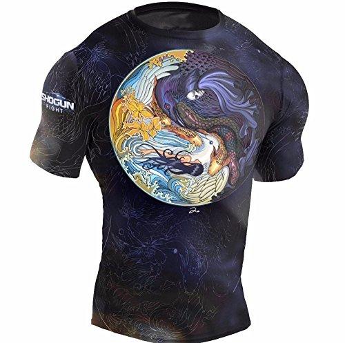 SHOGUN Fight Rash Guard BJJ MMA Premium Jiu Jitsu Fighting Grappling Compression Shirt, Large Tao Short Sleeve