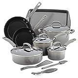 Rachael Ray Hard Enamel Cookware Set 14 Piece Sea Salt Gray