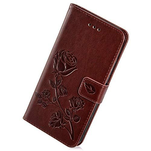 Herbests Kompatibel mit Huawei Honor 6A Handy Hülle Handytaschen Rose Blumen Muster Retro Lederhülle Brieftasche Klapphülle Leder Tasche Handy Schutzhülle Flip Hülle Cover Etui,Braun