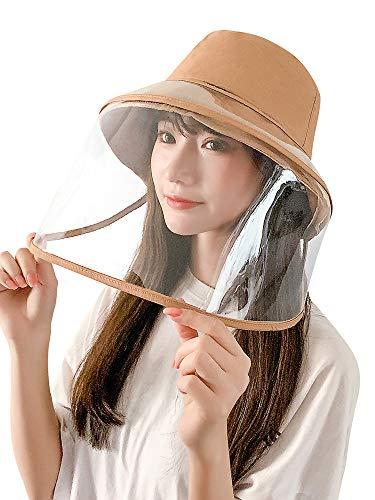 Women Removable Protective Face Shield Anti Splash Sun Hat Fishing Caps Khaki