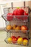 Hanging fruit basket Under sink inside cabinet storage Metal Wire 3 Tier organizer Kitchen Fruit Produce Bin Rack Baskets fruit stand produce storage Z Basket Collection (silver)