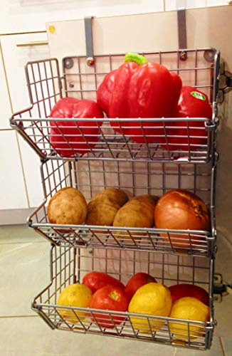 B.N.D TOP Hanging Fruit Basket Under Sink Inside Cabinet Storage Metal Wire 3 Tier Organizer Kitchen Fruit Produce Bin Rack Baskets Fruit Stand Produce Storage Z Basket Collection (Silver)