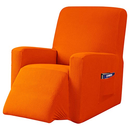 subrtex Recliner Chair Cover Stretch Recliner Slipcover Lazy Boy Covers for Furniture Protector Rocker Sofa Cover with Side Pocket (Recliner, Orange -  SBTZHS007