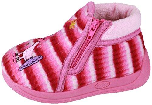 Mirak Enfants Safari Zip Up Bottes Chaussures Bottines Pantoufle Chausson Rose 30