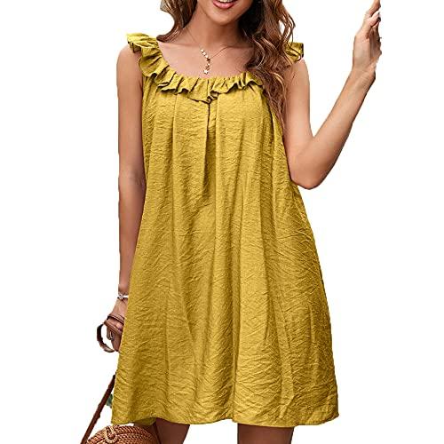 Primavera Y Verano, Jersey Informal para Mujer, Cuello Redondo, Suelto, Color SóLido, Chaleco De Oreja De Madera, Falda Corta, Vestido para Mujer