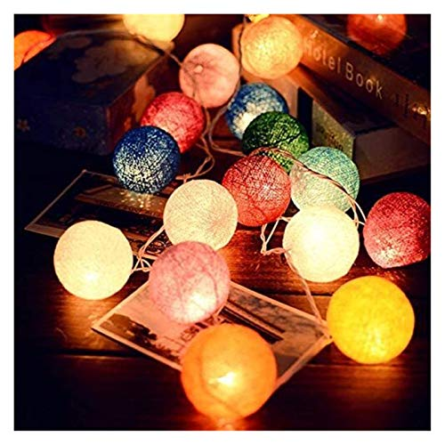 XIAOGING Led Cotton Ball Garland String Lights Christmas Outdoor Holiday Wedding Party Crib Fairy Tale Decoration Lights 3m,6m40led-plug,muti-colors-a20