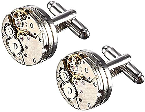 Cufflinks, Deluxe Steampunk Vintage Watch Movement Shape Cufflinks-Valentines Festival Birthday Anniversary Graduation Gift for Men/Women