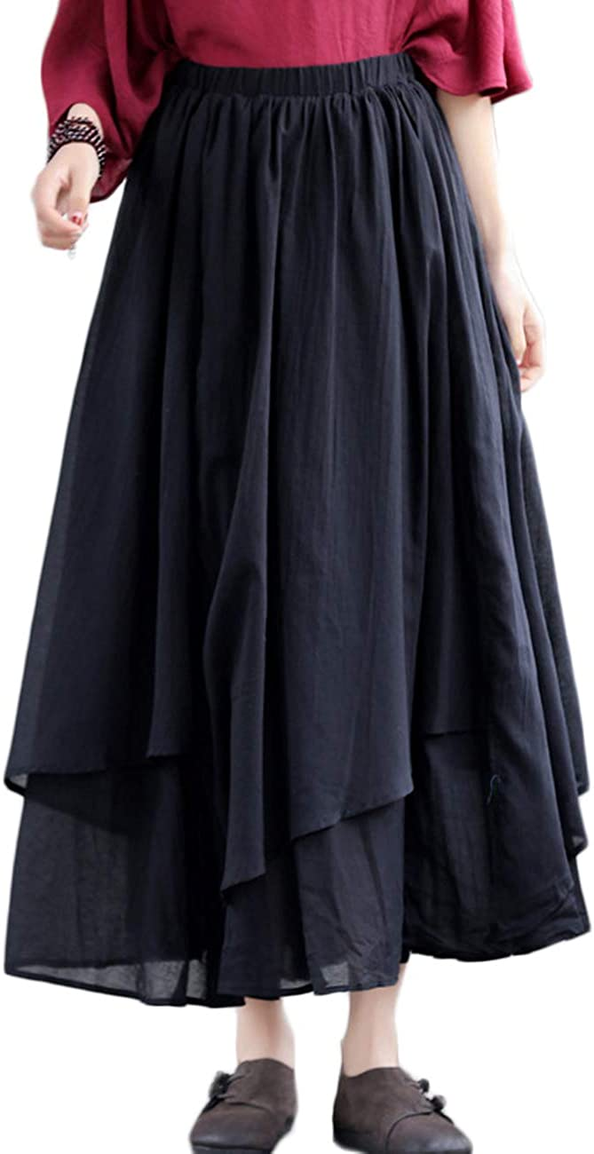 LZJN Women's Elastic Waist Cotton Layered A-line Flowy Irregular Bohemian Long Skirt