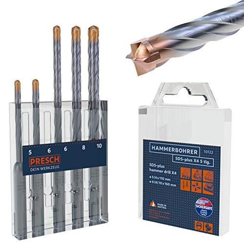 Presch SDS Plus Bohrer Set X4-5-tlg - Stahlbeton Bohrer mit 4 Schneiden und Dübellängenindikator - Hammerbohrer Set SDS für Beton, Stein, Granit, Ziegel, Mauerwerk - Betonbohrer Set Ø 5-10mm