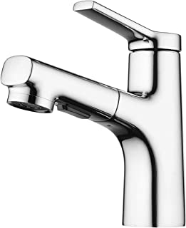 Bathroom Sink Faucets with Pull Out Sprayer,Single-Lever Basin Mixer, Hot Cold Water Mixer Tap, Sink Mixer Taps Chrome