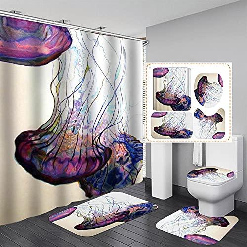 xiemengyangdeshoop Duschvorhang-Quallen Wasserdicht Und Schimmelresistent Haushalt Hotel Badezimmer Produkte Vierteilige Badezimmermatte 200(B) X180(H) cm