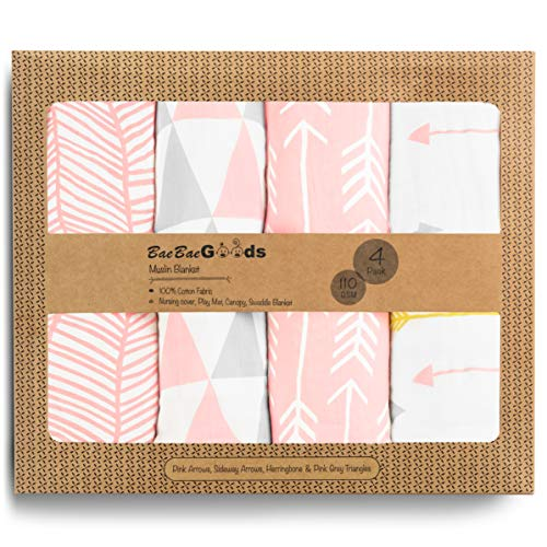 Muslin Swaddle Blankets – Soft Pure Cotton Muslin Blankets – 4 Pack of Breathable Swaddle Blankets – Unisex Baby Swaddle Blanket in Pink White Designs – Multi Use Muslin Blankets – 47 x 47 inches