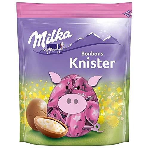 Milka Bonbons Knister 1 x 86g, Zartschmelzende Schokoladenbonbons aus feinster Alpenmilch mit Knisterstückchen