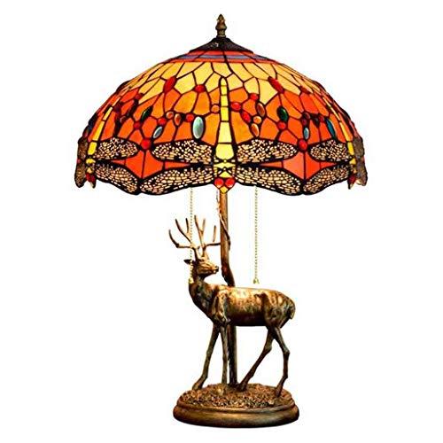 GYCC - Lámpara de Mesa de Estilo Tiffany de 16 Pulgadas, diseño de libélula roja, lámpara de Mesa de Cristal, 2 Luces, Base de Resina, decoración de Escritorio, para salón o Dormitorio