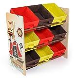 Homestyle4u 1118, Kinderregal mit Aufbewahrungsboxen, Spielzeugregal Bücherregal Kinder, Holz Bunt Pirat Schiff