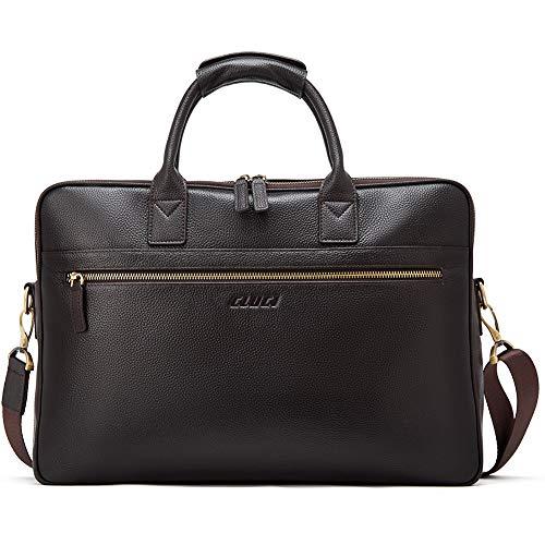 Genuine Leather Briefcases for Men Large 15.6 Inch Laptop Vintage Slim Business Travel Shoulder Bags Black