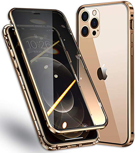 Cover per Apple iPhone 12/12 PRO Anti Spy Custodia,360° Privacy Vetro Temperato Protezione Cover,Anti Peep Magnetico Metallo Telaio Antiurto Rugged Paraurti Anti-Spia Case per 12/12 PRO 6.1',d'oro