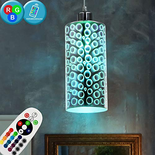 Plafoniera Lampada a sospensione cromata con telecomando in vetro effetto 3D dimmerabile in set con illuminazione a LED RGB