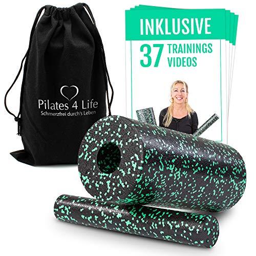 Pilates 4 Life - 2in1 Faszienrolle - inkl. 90 Min-Spezial-Videokurs für Einsteiger - Massagerolle für ein straffes Bindegewebe und entspannte Muskeln