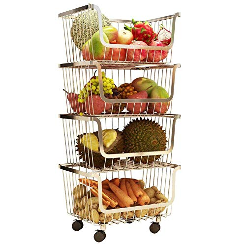 Professional Kitchen Cart Shelf,Removable with Rolling Wheels,Stainless Steel Kitchen Rack,Household Laundry Kitchenware Basket, Fruit and Vegetables Holder Shelf,Kids Toy Room...