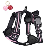 Belababy No Pull Dog Vest Harness Front Clip Handle, Reflective Easy Control Outdoor Walking Training Mini Medium Large Dog Harness, Breathable Chest Padded Mesh Adjustable Harnesses Pink