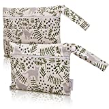 Feineli Juego de 2 bolsas húmedas con cremallera y compartimento para secado, ideal para pañales de tela, ropa de baño, compresas de lactancia, compresas sanitarias