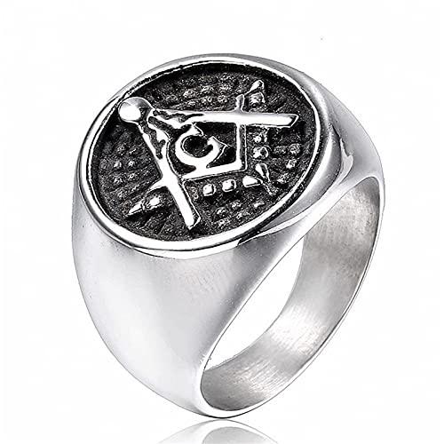 DZXCB Vintage Acero Inoxidable Hombres Anillo Freemason Singlespunk Silver Gothic Rock Locomotor Party Jewelry,11