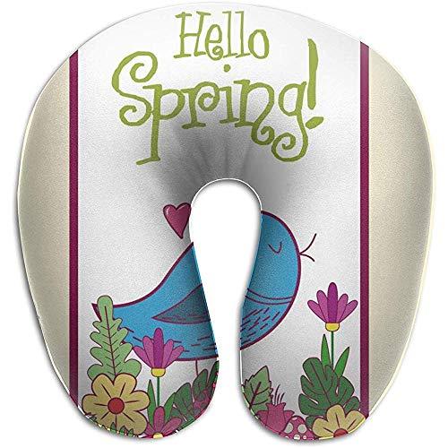 Marlon Kitty Hello Spring Card - Cojín con Forma de U, Almohadilla para el Cuello, cojín, Unisex y Comodidad en los Viajes