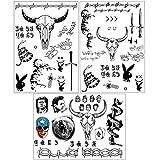 Face Tattoo, Halloween Temporary Tattoos Sticker, Halloween Costume,Parties Costume Tattoos,4 Sheets