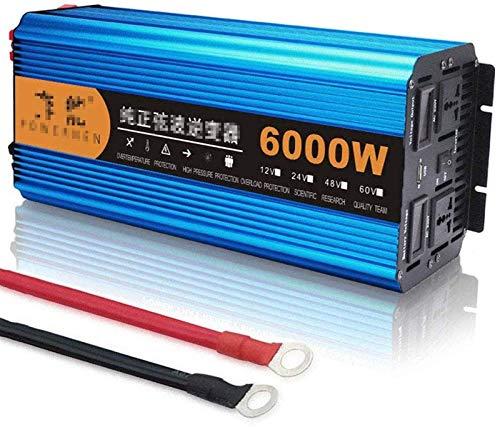 Convertidor de potencia de voltaje Auto Onda sinusoidal pura DC 12V 24V 48V a AC 220V 3000W (pico 6000W) con dos enchufes y pantalla LED USB, para autos de camiones de campista ( Color : 12Vto220V )