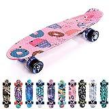 Meteor Skateboard Mini Cruiser Retro Board Completo con Cuscinetti ABEC-7 e Ruote PU Ideal...