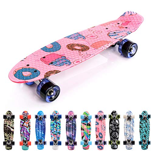 meteor Skateboard Kinder - Mini Cruiser Kickboard - Skateboard mädchen Rollen Board - Kunststoff Skateboards Deck - Retro Skateboard Jungen Mini Board - Skateboard Kinder miniboard (Candy)