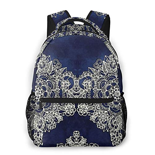 Cream Floral Moroccan Pattern On Deep Indigo Ink Backpack Men'S And Women'S Daypack Casual Bookbag Girls And Boys Best Schoolbag