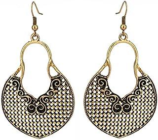 Gli orecchini in ottone ossidato oro grande forma rotonda motivo