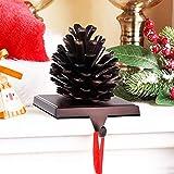 NaTursou Chrismas Pine Cones Stocking Holder, Mantle Stocking Hanger,Chrismas Stocking Holder Mantle, Christmas Fireplace Holder Decor