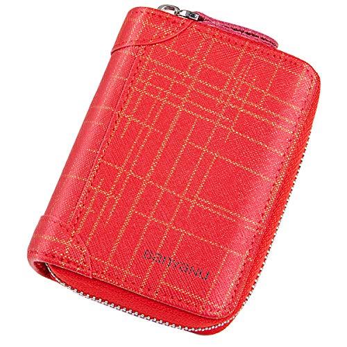 Faneam Multi-Ranuras Tarjetas de Crédito Cuero Tarjeteros para Mujer Titular de la Tarjeta Corta de Las Señoras RFID Monederos con Cremallera Billetera Capacidad 18 Tarjetas(Rojo)