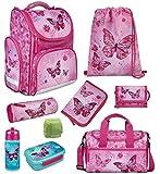 Familando Mädchen Schulranzen-Set 9 TLG. Scooli Export CLOU Schultasche 1. Klasse mit Brotzeit-Dose, Trink-Flasche, Sporttasche und Regenschutz Butterfly Pink
